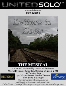 Flyer, Letters to Zoey, 10 17, 2015
