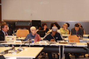 NWU Members Susan Davis and Herb Boyd speaking at the UN WPF Day event.  (Jose Pinto Stephen)