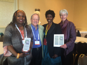 NWU members Lyzette Wanzer, September Williams, and Brigid O'Farrell with SF Writers Conference  co-founder Mike Larsen.