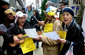 Raging Grannies protest TPP.
