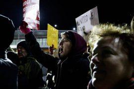 Protesters at JFK on Jan. 28. Justin Lane, European Pressphoto Agency