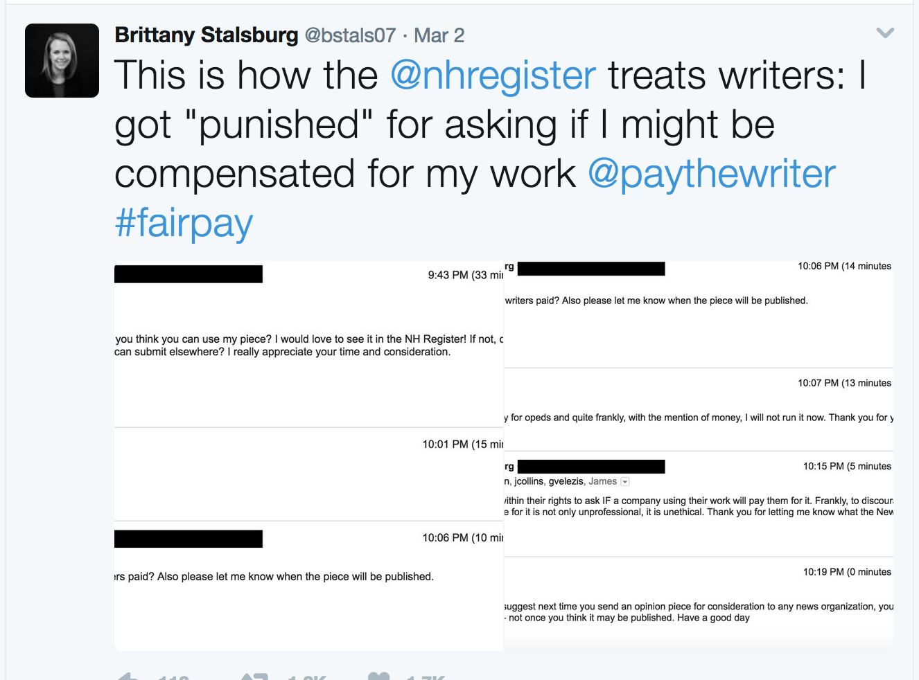 writers pay  when she asked about payment editor cut her story